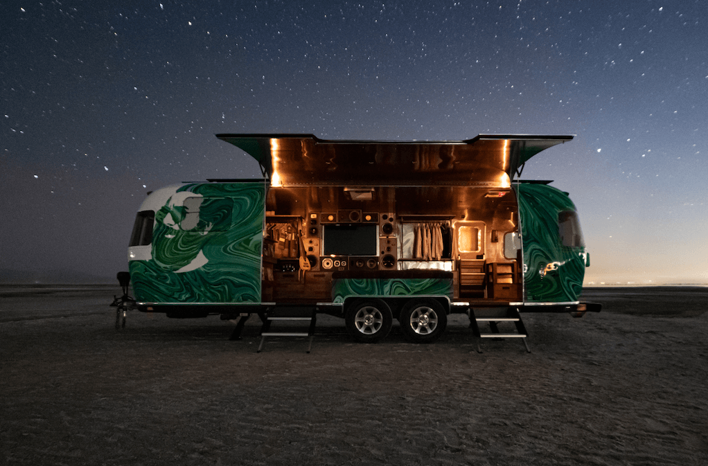 Garcia Hand Picked has an Airstream named Bertha. This is a beautiful photo of Bertha taken under the night sky in the Salt Flats in Utah.