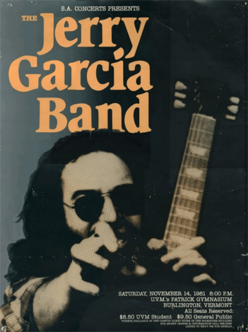 Concert poster for the Jerry Garcia Band from a show at UVM on September 14, 1981
