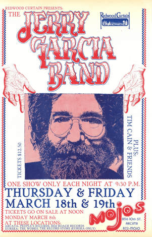 Concert poster for the Jerry Garcia Band from a 1982 show