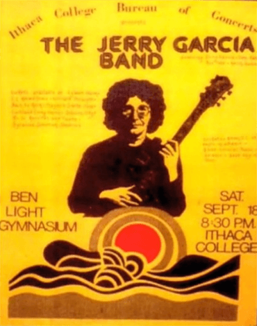 Concert poster for the Jerry Garcia Band from a 1976 show at Ithica College