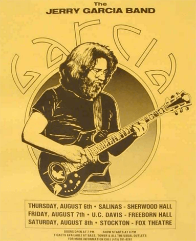 Concert poster for the Jerry Garcia Band from 1981 show at UC Davis