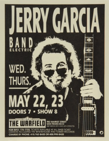 Concert poster for the Jerry Garcia Band from a 1991 show in San Francisco