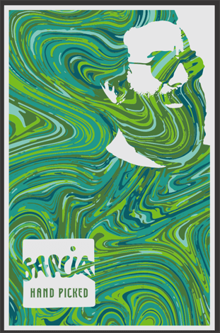 Poster of Garcia Hand Picked logo of Jerry portrait in swirly green background